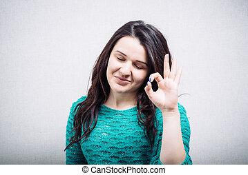 pokaz, dziewczyna, piękny, kciuk, szczęśliwy, symbol, do góry, siła robocza, dwa
