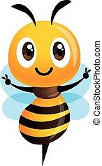 pokaz, ilustracja, sprytny, ręka, pszczoła, wektor, rysunek, zwycięstwo, odizolowany, poznaczcie.