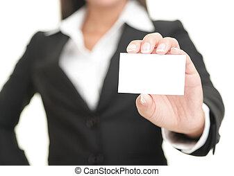 pokaz, kobieta interesu, karta, handlowy