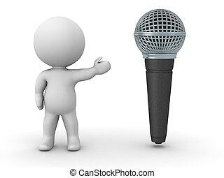 pokaz, litera, mikrofon, 3d