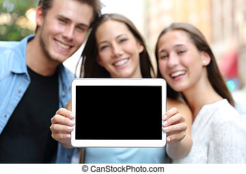 pokaz, przyjaciele, ekran, tabliczka, czysty