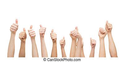 pokaz, ręki do góry, kciuki