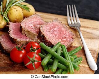 pokrojony, obiad, stek