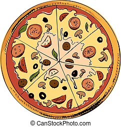 pokrojony, pizza, ikona