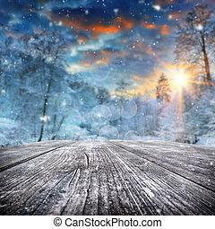 pokryty, las, zima krajobraz, śnieg