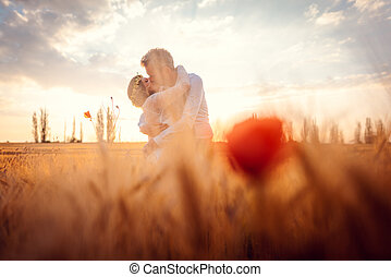 pole, ślub, romantyk, zmontowanie, pszenica, para całująca