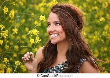 pole, dziewczyna, kwiat, ładny