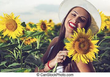pole, kobieta, kapelusz, słonecznik
