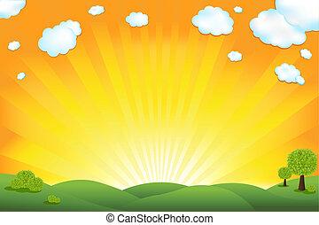 pole, zielony, wschód słońca, niebo