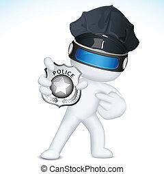 policja, pokaz, wektor, 3d, odznaka, człowiek