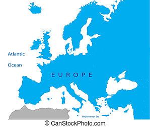 polityczny, europa, mapa