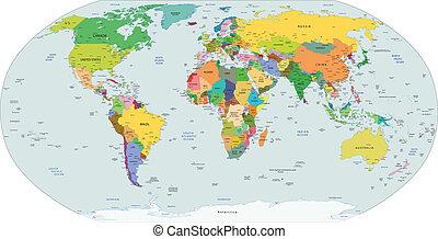 polityczny, globalny, mapa, świat
