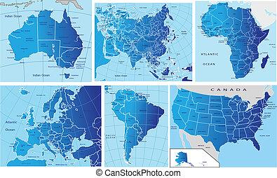 polityczny, mapa, kontynenty