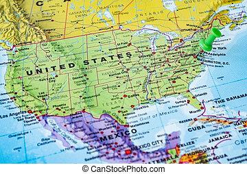 polityczny, mapa, stany, zjednoczony