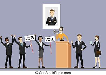 polityk, kampania, reputacja, trybun, kandydat, wybór