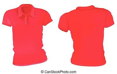 polo, kobiety, koszule, szablon, czerwony