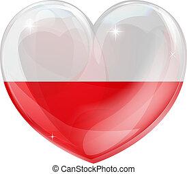 polska, serce, miłość, bandera