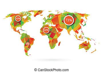 polygonal, światowa mapa