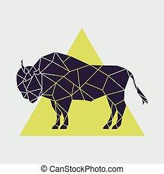 polygonal, abstrakcyjny, geometryczny, buffalo.