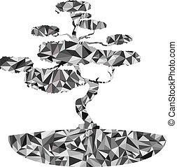 polygonal, ilustracja, japończyk, bonsai drzewo