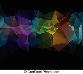 polygonal, wektor, tło, czarnoskóry, szablony, mozaika, żywy, twórczy, kolor, handlowy, projektować, ilustracja