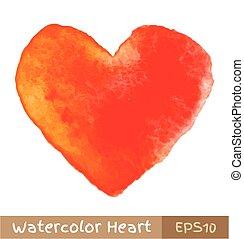 pomarańcza, akwarela, -, czerwone serce
