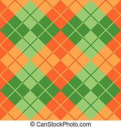 pomarańcza, argyle, zielony