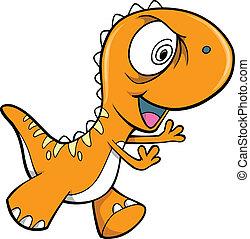 pomarańcza, dinozaur, pomylony, wektor, zwierzę