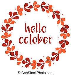pomarańcza, karta, wieniec, październik, powitanie