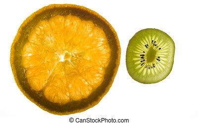 pomarańcza, kiwi