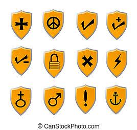 pomarańcza, komplet, tarcza, ikona