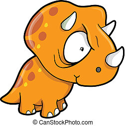 pomarańcza, pomylony, dinozaur, triceratops