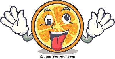 pomarańcza, pomylony, maskotka, styl, rysunek