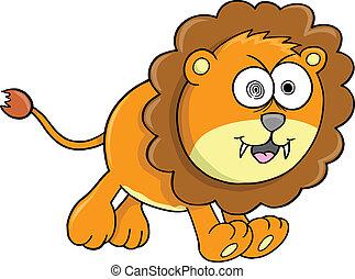 pomarańcza, pomylony, wektor, lew, zwierzę