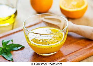 pomarańcza, sezam, czarnoskóry, vinaigrette