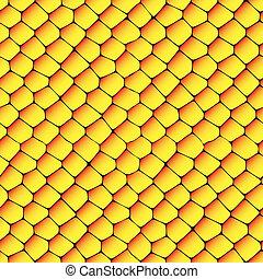 pomarańcza, struktura, plastry miodu, seamless, żółty