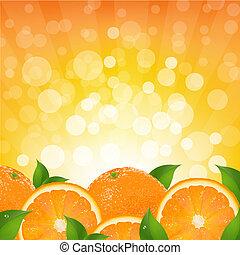 pomarańcza, sunburst, tło