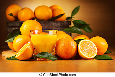 pomarańcza, szkło, sok