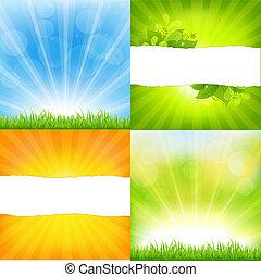 pomarańcza, tła, sunburst, zielony