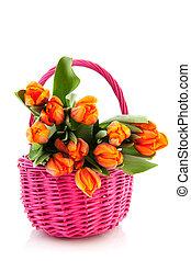 pomarańcza, tulipany, różowy, kosz