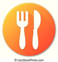 pomarańczowe koło, restauracja, projektować, ikona