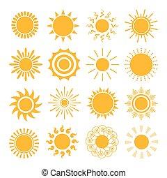 pomarańczowe słońce, ikony