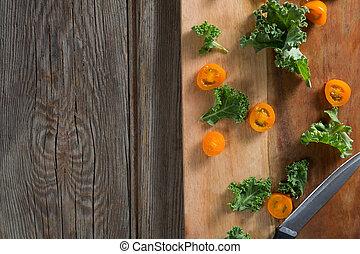 pomidor, deska, kromki, cięcie, kale