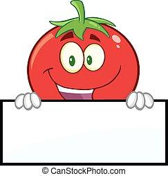pomidor, na, czysty, uśmiechanie się, znak