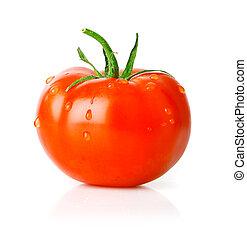 pomidor, zielony, owoc, liść, świeży