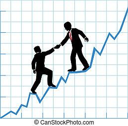 pomoc, handlowy, towarzystwo, wykres, wzrost, drużyna