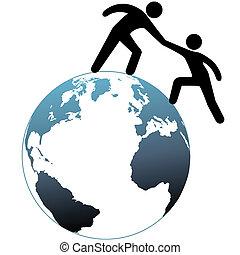 pomocnik, górny, osiągać, do góry, pomoce, świat, przyjaciel, poza