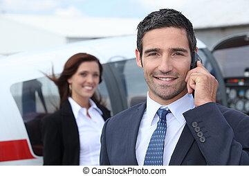 pomyślny, biznesmen, lotnisko
