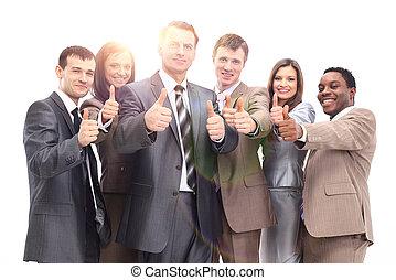 pomyślny, drużyna, do góry, handlowy, kciuki