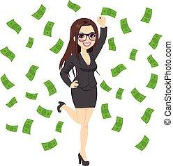 pomyślny, kobieta, brunetka, bogaty, handlowy